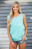 Monogrammed Comfort Colors Pocket Tank | Chalky Mint