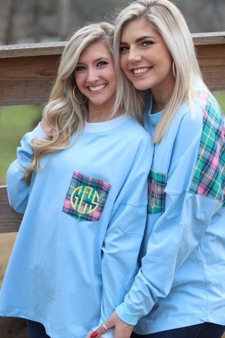Ginny Marie's Monogrammed Spirit Tee | Summer Skies | Sky Blue with Spring Plaid