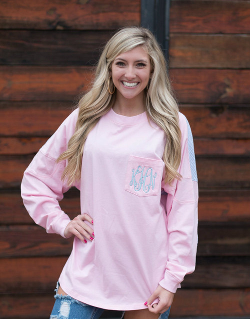 Ginny Marie's Monogrammed Spirit Tee | New Love | Pink with Sky Blue Seersucker