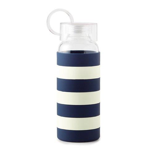 Kate Spade | Water Bottle | Navy Rugby Stripe