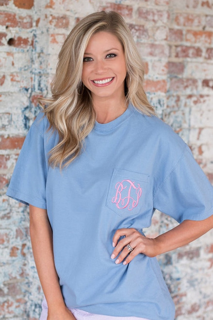 Monogrammed Comfort Colors Pocket Tee | Short Sleeve | Washed Denim