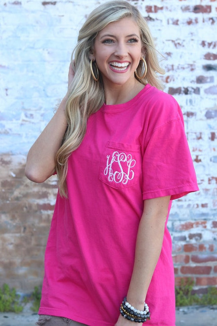 Monogrammed Comfort Colors Pocket Tee | Short Sleeve | Heliconia