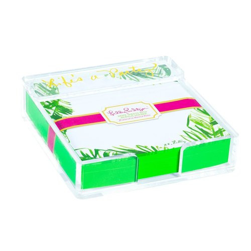 Lilly Pulitzer | Acrylic Holder and Loose Notes | Painted Palm