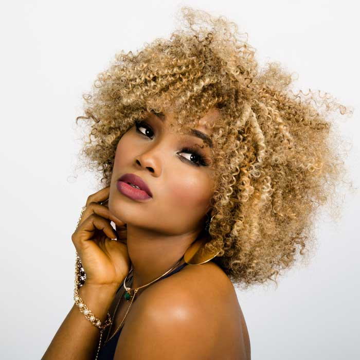 Blonde black woman with stunning skin